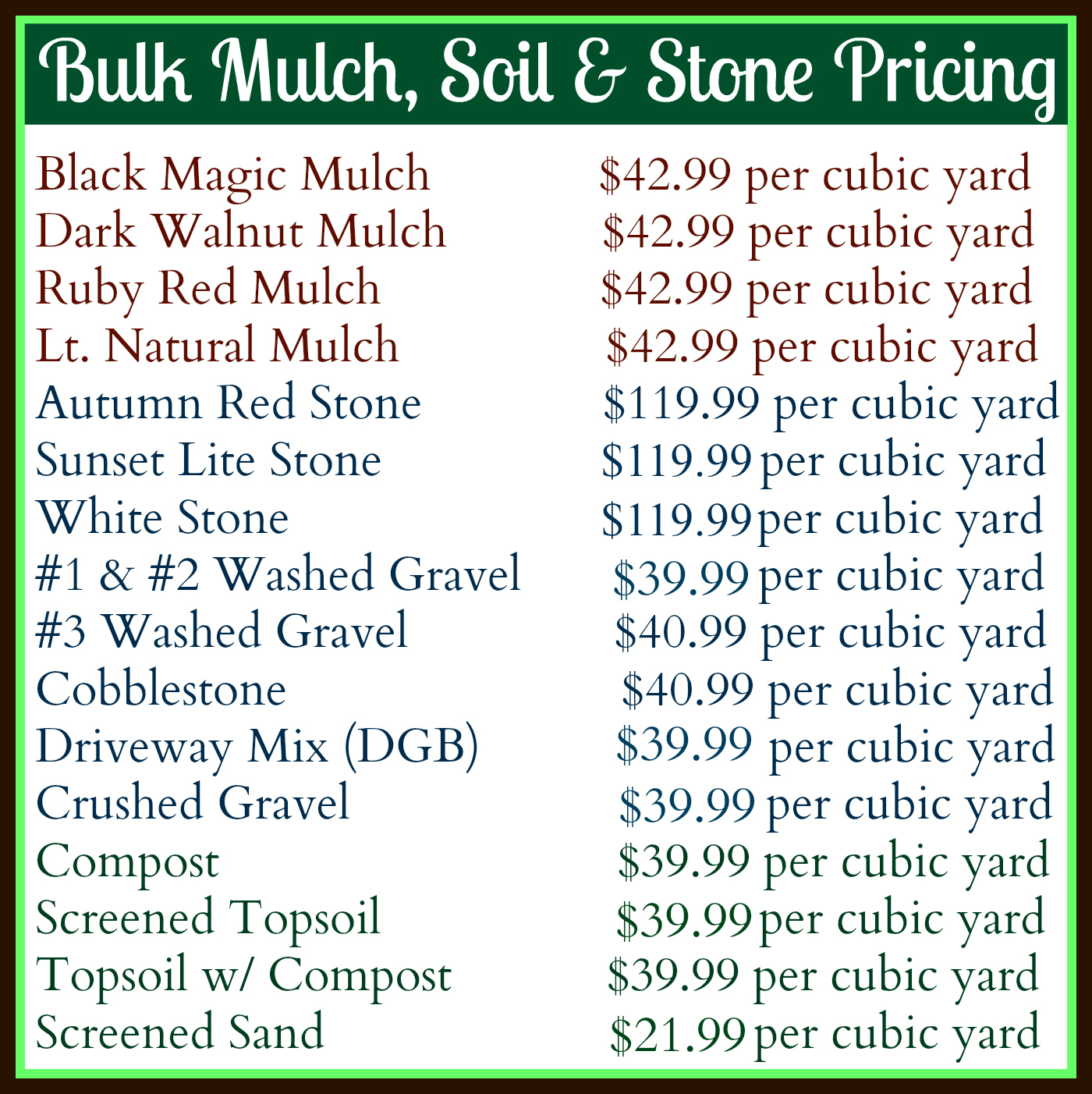 How Much Does A Yard Of Gravel Weigh >> Mulch & More - GreenScapes Garden Center & Landscape Co.GreenScapes Garden Center & Landscape Co.